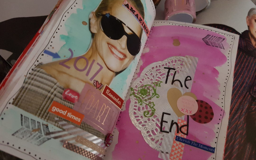 "DIY – Midori art journal page ""The End"""