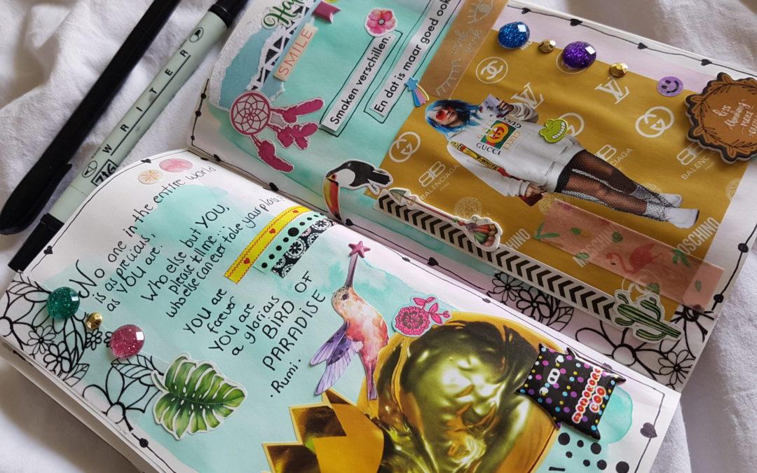 """DIY: Midori art journal pagina """"Birds of paradise"""""""